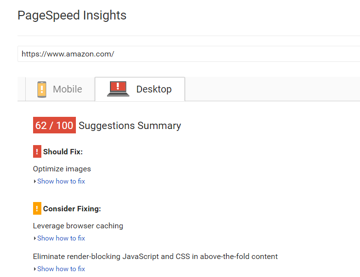 Amazon receives a poor Google Page Speed Insights score yet has fast loading speed.