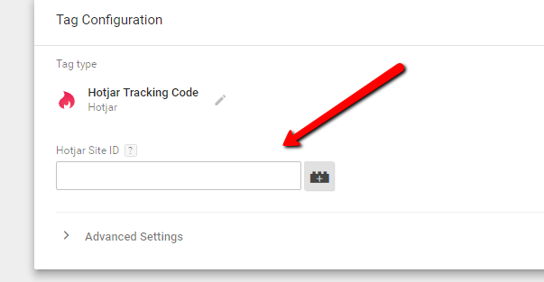 Enter your Hotjar Site ID into the Google Tag Manager Hotjar Tag menu.