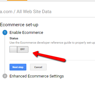 ecommerce setting is turn on in analytics