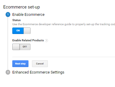 Ecommerce tracking can be enabled by using the Admin section in Google Analytics