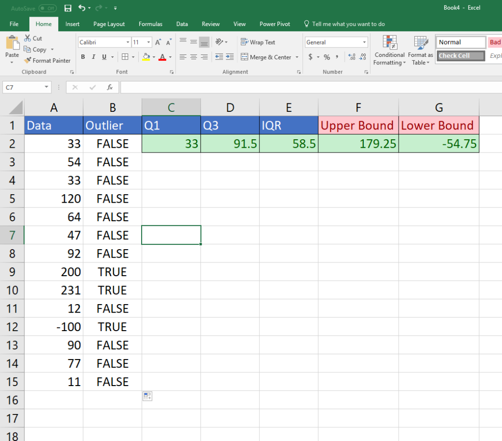 Use Excel to enter the upper and lower bounds for outliers