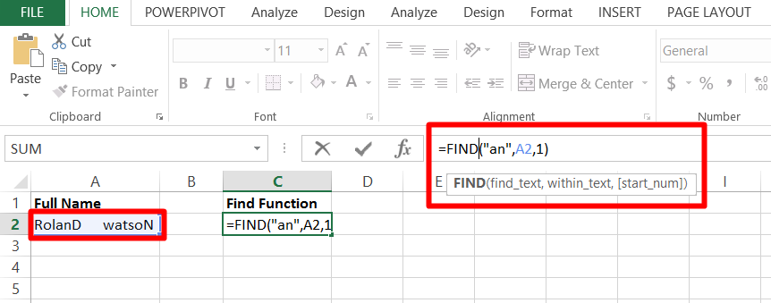 Use the find function to locate text in documents in Excel