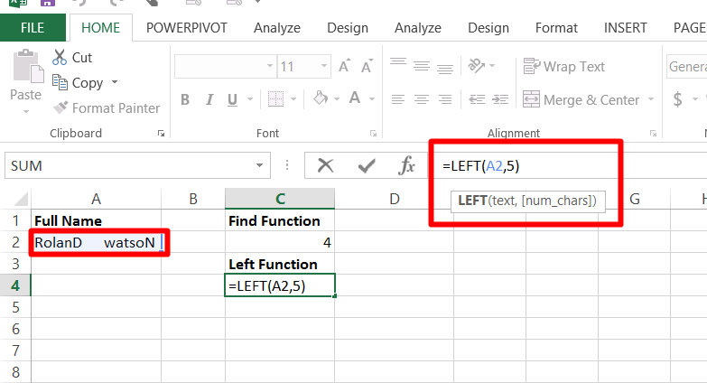 Use the Left function in Excel