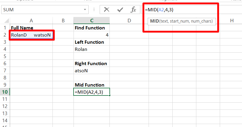Use the mid function in excel