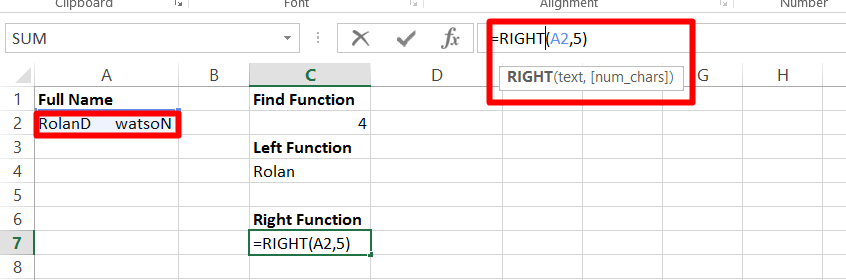 Use the right function in Excel