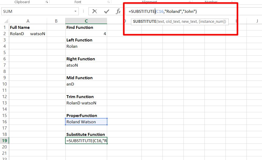 Use the substitute function in excel