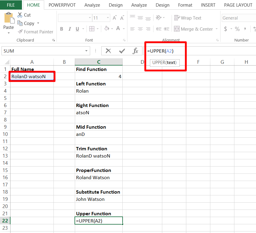 Use the Upper Function in excel
