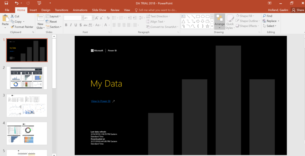 Make PowerBi into a Powerpoint Report