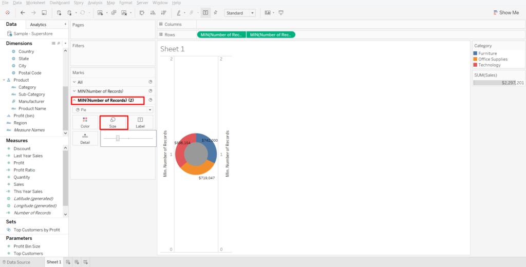 single doughnut chart - doughnut chart in tableau - edureka