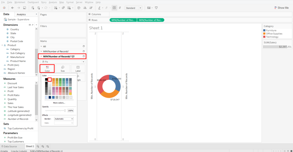 you will need to change the color of the internal circle to create a donut chart in Tableau