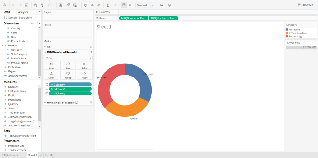 You will need to increase the size of the visualizations for donut chart in Tableau