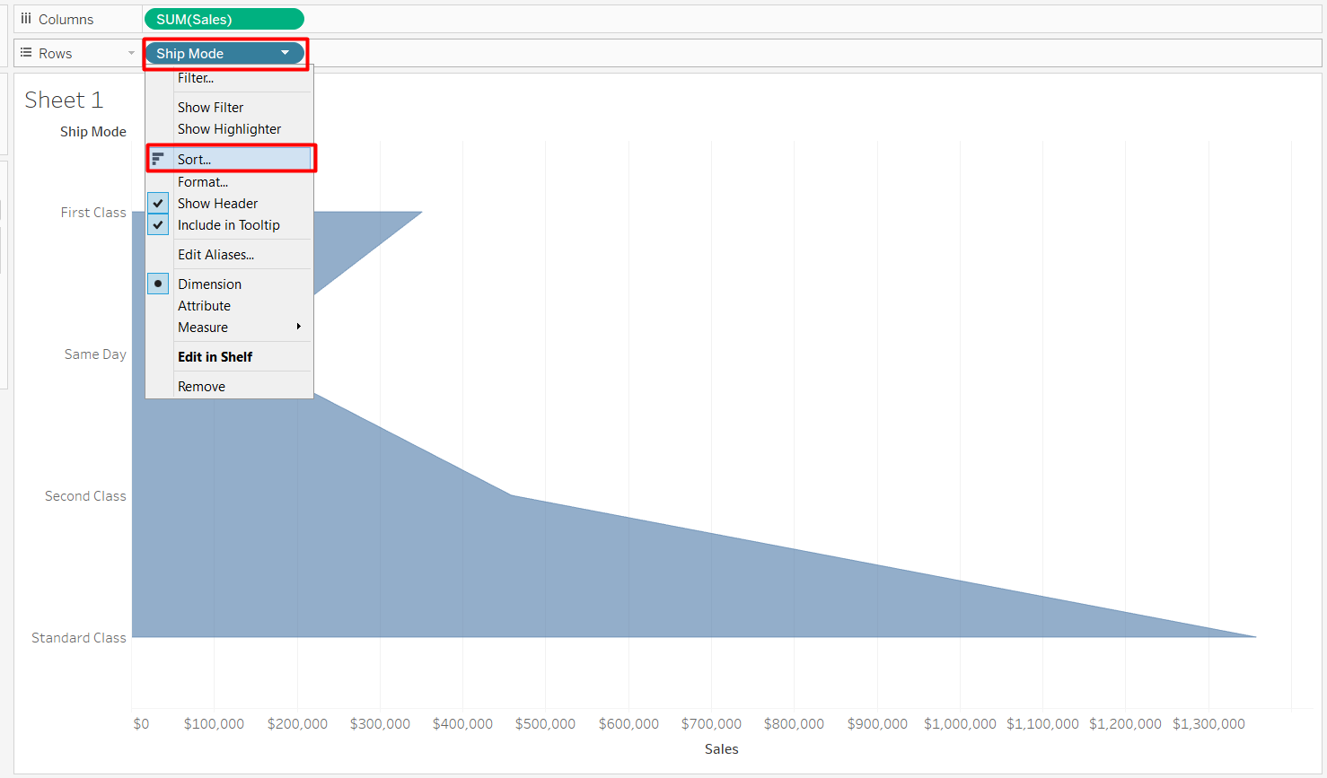 You need to sort the columns in a funnel Chart in Tablleau