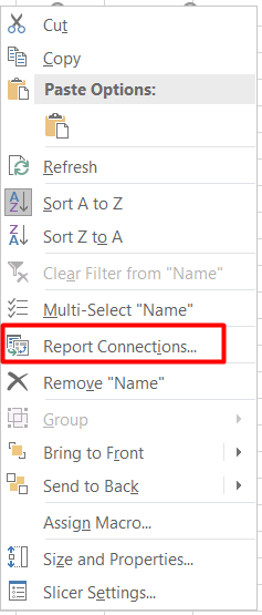 report connection to the pivot table