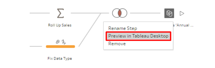 Data preview in Tableau Prep is part of the transforming step.