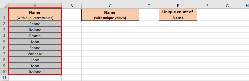 Get the unique count by summing the range of values