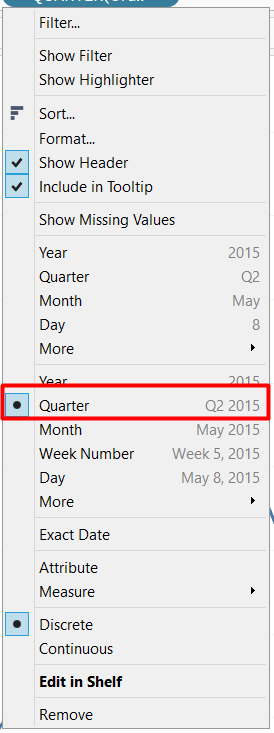 Change the date to quarter to create a waterfall chart chunked structure.