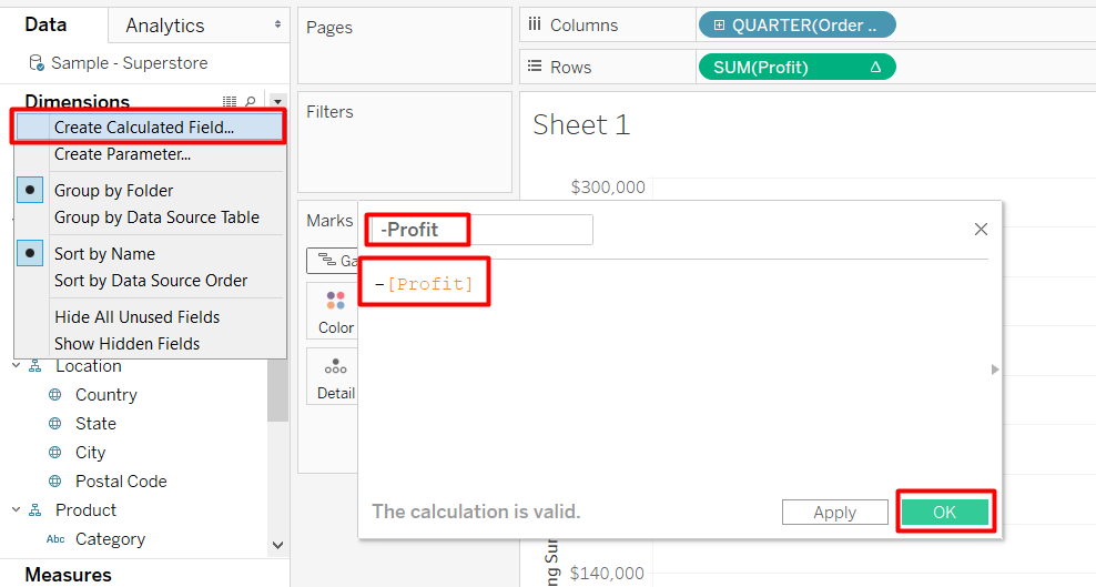 Create a calculated field to create a waterfall chart