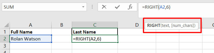 Use the RIGHT function to remove values from the right of a value