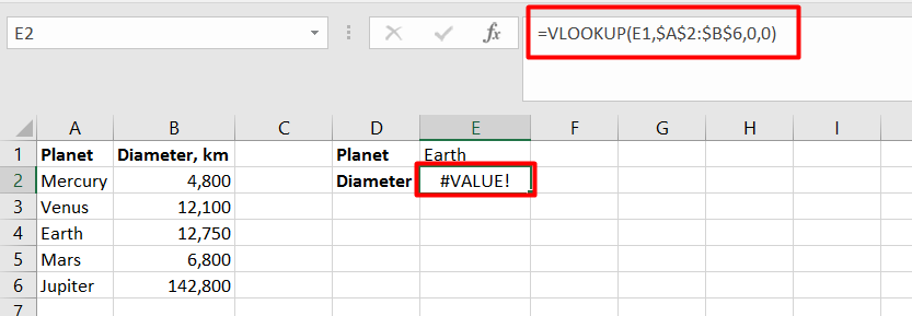 There will be an error in VLOOKUP if the data type of the value is not correct