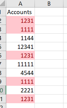 Conditional Formatting can locate duplicate values