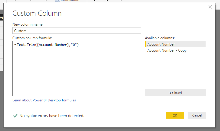 The text.trim function will eliminate leading zeros in Power BI.
