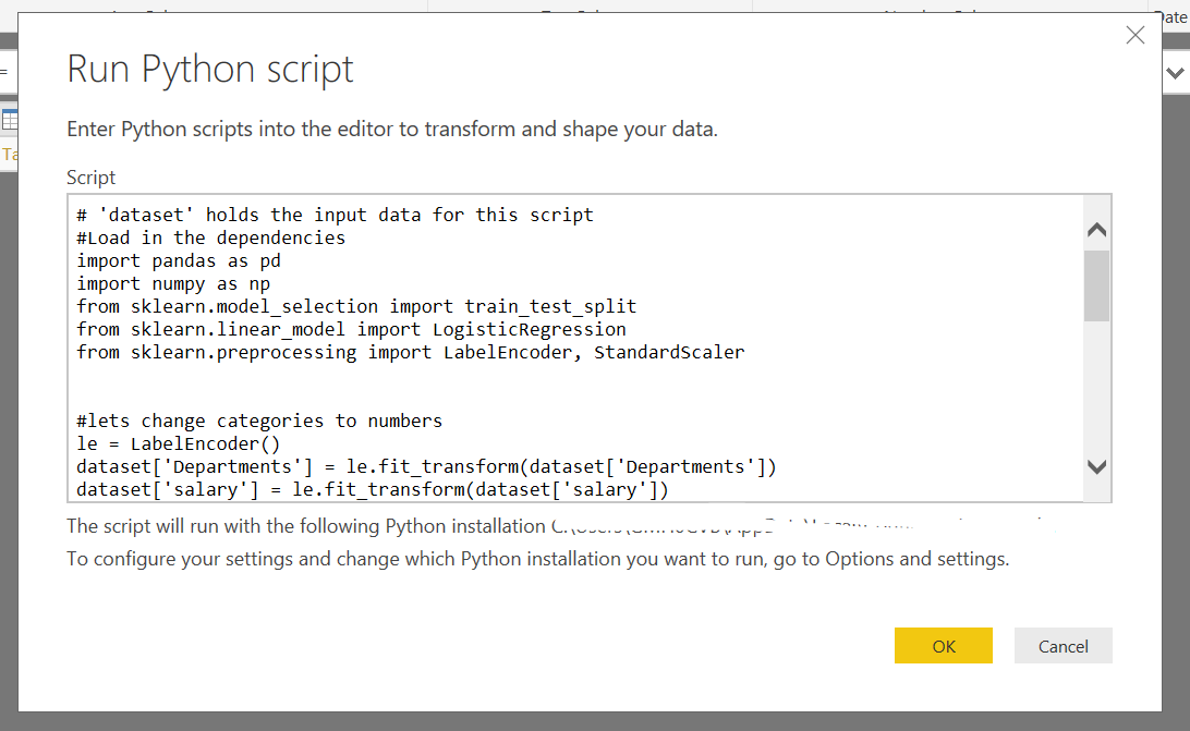 Python Machine Learning in Power BI - AbsentData