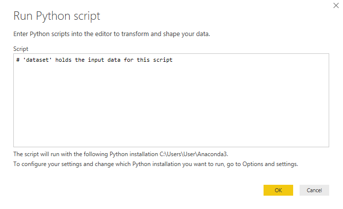 the python script allows to do machine learning in the power bi notebook